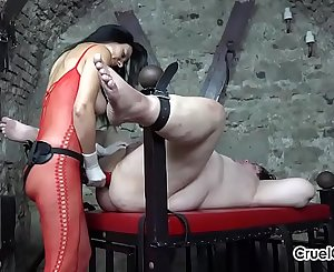 Huge Strap-On In Her Slave's Mouth, Ass, and Mouth Again!