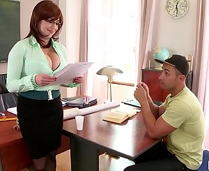 Gonzo fuck leads to spurt of cum all over tutor Sandra Boobies' big tits