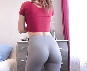 College Honey With Skin-Tight Yoga Pants Showing Off Bubble Butt In DORM