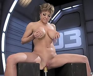 Big-titted Milf fucks machine and squirts