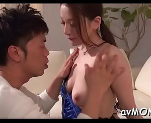 Tight asian mommy pleasures herself